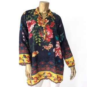 JOHNNY WAS SILK COLORFUL FLORAL LONG SLEEVE TUNIC